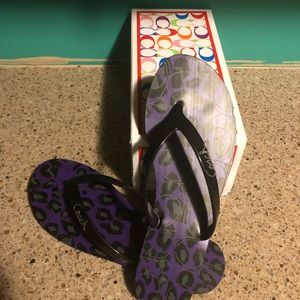 COACH, purple cheetah flip flops. Never worn